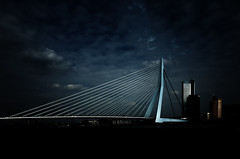 Erasmus Bridge, Rotterdam (BartvanDam) Tags: rotterdam erasmusbrug erasmus bridge architecture city landmarks skyline maas dutch thenetherlands clouds lighting mood ricohgr