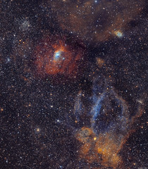 The Bubble Nebula & Lobster Claw Nebula (Martin_Heigan) Tags: bubblenebula ngc7635 sharpless162 caldwell11 astronomy astrophotography astroimaging amateurastronomy martin heigan telescope imagingrefractor refracting astrograph wostar71 71mm f49 apo williamoptics qhyccd qhy163m cooledcmos coldmos qhycfw2mus polemaster celestronavx advancedvx orionstarshootautoguider phdguiding optolongfilters 656nm 672nm 5007nm astronomycamera wavelengthsoflight narrowband lrgb sho ha oiii sii o2 halpha hydrogenalpha oxygeniii sulphurii spectralline widefield dso ionisedoxygen universe sgp sequencegeneratorpro pixinsight photoshop science physics light cosmos deepsky space southafrica august2017 southernhemisphere mhastrophoto bubble hiiregion emissionnebula mappedcolour lobsterclawnebula sharpless157 sh2157 stars messier52 spacebubble
