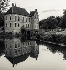 Mono Manor (Civilis Brutus) Tags: kasteel castle vorden water moat gracht spiegeling reflectie reflection mono monochroom monochrome zwartwit blackandwhite bw hdr panasonic gx80 gx85 lumix 25mm f17 mft m43 microfourthirds
