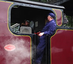 Engine driver (Snapshooter46) Tags: victor bagnall 2996 060st lakesideandhaverthwaiterailway cumbria enginedriver steamlocomotive industriallocomotive