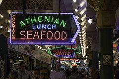 Seafood! (aerojad) Tags: eos canon 80d dslr 2017 summer seattle washington vacation travel wanderlust roadtrip pnw pacificnorthwest city urban pikeplacemarket market pikeplace streetphotography neon sign signs neonsigns