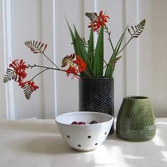 Blue Sgraffito Herringbone Vase (Jude Allman) Tags: ceramics ceramic craft crafts clay blue pottery vase vases handmade jude allman folksy etsy