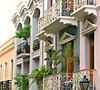 Balconies in Old Town (Colorado Sands) Tags: street sanjuan puertorico usa sandraleidholdt building architecture us colorful plant balcony unescoworldheritagesite colonialsection unesco oldsanjuan island oldtown caribbean