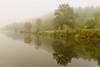 Le Blavet à Manerven dans la brume ce matin .