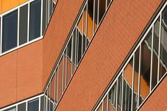 Orange facade with reflection (Jan van der Wolf) Tags: architecture architectuur rotterdam windows map173252v reflection spiegeling facade ramen gevel orange lines lijnen lijnenspel playoflines interplayoflines bricks bakstenen