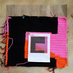 Square 32 inches toward completion (crochetbug13) Tags: crochetbug crochet crocheted crocheting loveacrosstheusa olek raleigh northcarolina crochetsquares crochetpanels crochetinstallation