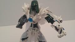 Sataron: Winter Wanderer. (RaptorTalon) Tags: bionicle hero factory moc lego talk like a pirate day birthday white green shield self staff axe robot arm