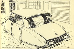Citroën DS à l'Atelier de Jojo - Strasbourg (lolo wagner) Tags: strasbourg car carrosserie garage voiture croquis sketch urbansketchers