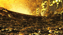 The Golden Cave (eXalk) Tags: gold ball spiral render reflection art abstract steel sphere design digital dream fantasy fractal fragmentarium grafik geometric