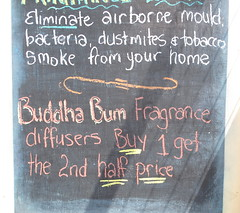 Buddha Bum Fragrance (spelio) Tags: collectables stuff shopping nsw australia 2015 iceboxcool dust mites tobacco bacteria blackboard sign