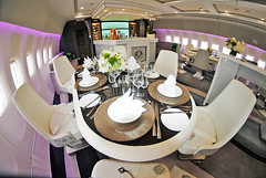 Dinner for Five in the 777 Crystal Lounge (Infinity & Beyond Photography: Kev Cook) Tags: dinner table crystal luxury air bar lounge area boeing 777 b777 aircraft airplane airliner cabin interior indoor 8mm samyang fisheye lens