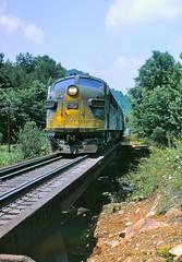 Clinchfield Railroad southbound, Nora VA, July 1970 (miningcamper) Tags: clinchfieldrailroad crr emd f7 fallenflag railway copyrightminingcamper