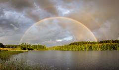 Double Rainbow (Jani Mäkelä) Tags: double rainbow canon eos wideangle panorama finnish nature finland lake päijänne rain photography summer sky clouds
