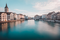 A Game Of Tones - Part II (Thomas Paal Photography) Tags: switzerland schweiz zürich zurich river fluss wanderlust reisefotografie reisen travel explore fuji fujifilm xt20 samyang 12mm prime wide angle long exposure nd1000 day tag langzeitbelichtung cityscape city stadt wasser water blue