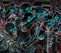 sliding with some skinheads (conall..) Tags: customhousesquare theoutcasts outcasts slf40th anniversary tour skinheads young concert music outdoor manipulated manipulatedimage photoshop elements 15 messing abstract weird glowing edges custom house square nikonafsnikkorf18glens50mm