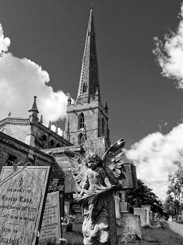 Bottesford church in monochrome