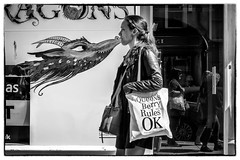 queens berry rules ok (Daz Smith) Tags: dazsmith fujixt20 fuji xt20 andwhite bath city streetphotography people candid portrait citylife thecity urban streets uk monochrome blancoynegro blackandwhite mono dragon kiss youngwoman shopper bag