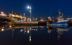 Port de Pêches de la Turballe (Didier Ensarguex) Tags: laturballe portdepeches 44 loireatlantique bretagne breizh didierensarguex bateauxdepêches réflexionreflet heurebleue lune mer nuit eau canon 2470l28 5dsr