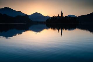 Dawn on lake Bled