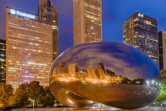 "I've ""bean"" to Chicago (Part 3 of 4) (tquist24) Tags: attplaza chicago cloudgate hdr illinois nikon nikond5300 thebean architecture bluehour buildings city clouds geotagged lights longexposure morning park reflection reflections sculpture sky skyscrapers unitedstates millenniumpark"