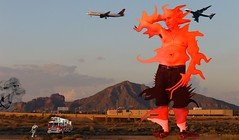 Mutant Monte near Sky Harbor Airport Phoenix AZ 8 5 2017 (Monte Mendoza) Tags: ua orange 747 firetruck camelbackmountain airplane underarm armpit axila mutant mutation