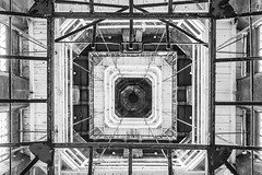 I'm watching you (deborahb0cch1) Tags: monochrome blackandwhite noiretblanc abstract architecture building lines line geometric symmetry symmetric tower square paris stairs up lookingup toursaintjacques monument eye watching