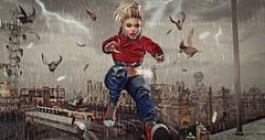 Fast as Lightning (CeCeGy) Tags: second life sl secondlife drd deathrowdesigns tralala poseidon running tala catwa valekoer vale koer tableau vivant dreads action pigeons rain lightning apocalyptic