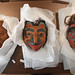Native American masks await their place in the new Gregg Museum.