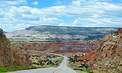 THE GREATEST ADVENTURE IS WHAT LIES AHEAD (Irene2727) Tags: road landscape nature clouds panorama scape pano mountains colors sky bigsky newmexico georgiaokeeffe