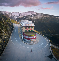 Strange & Beautiful (ThibaultPoriel) Tags: furkpass restaurant hotel scenic scenery abandoned urbex col sky sunset silhouette people roadtrip travel exploration discover insolite colors sundown sunrise mountain mountains dji phantom aerial phantom4pro adventure cinematic outdoors outdoor gletscher suisse swiss switzerland alps alpes strange flying