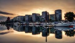 Mirror Mirror...... (Norbert Clausen) Tags: hafen harbour harbor sunset sonnenuntergang sky spiegelung reflections architektur architekture