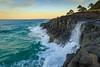 Ocean cliff waterfall (pbaddz) Tags: newsouthwales surf rocks headland australia pacificocean fingal