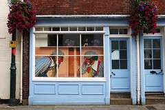Blue window with clowns, Canterbury (NovemberAlex) Tags: colour canterbury kent