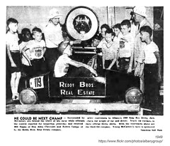 1949 soap box derby (albany group archive) Tags: albany ny history 1949 soap box derby jack mccastney bill eagan don allen chevrolet robert lampe shell oil reddy brothers real estate 1940s old historic historical pic vintage photo photograph