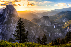 Sunrise on Half Dome & The Mist Trail (Bartfett) Tags: half dome yosemite national park california glacier point waterfalls nevada falls vernal mist trail sunrise dawn light sun beautiful trees forest morning nice green blue river merced granite mountain