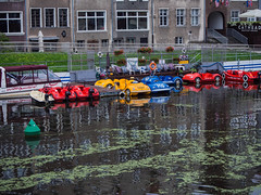 Water Taxis (JmiaJ) Tags: blue gdansk poland river boats taxis pleasureboats colourful