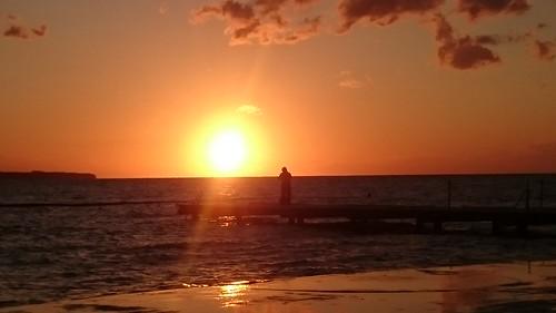 Mann im Sonnenuntergang