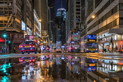 Tramways Mirror (mikemikecat) Tags: hktramways sheungwan 上環 香港 nightscape night road building twilight cityscapes carlzeiss a7r sony street urban 夜景 建築 城市 architecture tramway tram 火車 路 reflection mirror ifchk station mikemikecat 電車 fe1635mm sel1635z