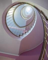 Raspberry Icecream Swirl (katrin glaesmann) Tags: münchen munich notripod handheld stairs staircase lookingup lights spiralstaircase caféglockenspiel