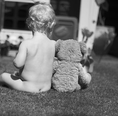 Me & my Pal (kellyhackney1) Tags: baby love teddy bear pals friends cute myworld blackandwhite curls firstcurls babybottom babylove