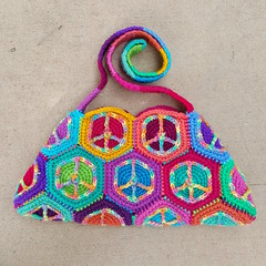 One side of the finished crochet purse (crochetbug13) Tags: crochet crocheted crocheting hexagons crochethexagons crochetpeacesign crochetpurse crochetbag crochettote crochetstrap crochetbug