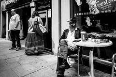Costa (Roj) Tags: sitting sourcerojsmithtumblrcom england chester mono polkadots originalphotographers cashmachine ricohgrii chrome atm streetphotography costa cafe hat coffee uk photographersontumblr beard bw blackandwhite monochrome