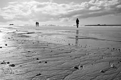 Just another beach walk (Jens Steidtner) Tags: cléder finistère côtedessables bretagne brittany france beach coast sand sky clouds sea outdoors travel bw blackandwhite monochrome fujifilmx100t