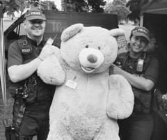 You're nicked! (DH73.) Tags: northampton northamptonshire buddiesofbeckets mela 2017 police teddybear arrest officers fed1 leica leitz elmar 5cm f35 ilford fp4 125asa id11 11 11min