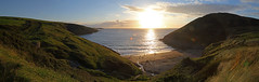 Into the sun (Treflyn) Tags: view mwnt beach cardigan bay setting sun ceredigion wales panorama