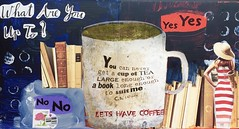 Postcard (Explored 8/7/17...Thank you!) (opal c) Tags: collage alteredbook acrylic coffee tea cslewis quote postcard whatareyouupto