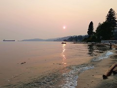 Sunset over Dundarave Beach (walneylad) Tags: dundarave westvancouver britishcolumbia canada sunset evening pacific ocean sea waves tide beach log driftwood sand ship boat tanker trees silhouette reflections red orange gold yellow colour summer august smoke haze clearsky nature scenery view sun light