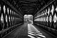 Shadow dance (trochford) Tags: sunlight contrast bridge coveredbridge wooden truss trussbridge interior newenglandcollege contoocookriver henniker hennikercoveredbridge hennikernh hennikernewhampshire nh newhampshire newengland usa canon ef24105mmf4lisusm bw bnw blackandwhite blackwhite noiretblanc blancoynegro mono monochrome patterns