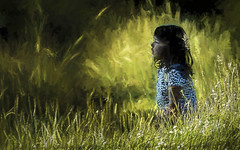 Girl in the Long Grass (Bobinstow2010) Tags: girl grass long france auvergne yellow green blue