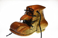 Das Boot (johnsinclair8888) Tags: macromondays highkey shoe woodcarving johndavis nikon sigma 105mm macro wood art